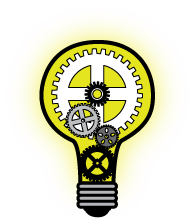 illumiinated lightbulb with gears inside